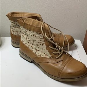 Brown booties with lace detail